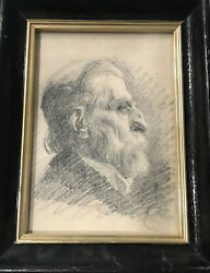 Antique British Pencil Drawing Portrait Late 19th Century Unsigned Framed $110.00