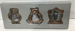 Vintage Set Of 3 Rustic Brass Metal Teddy Bear Mini Frames New In Box Never Used $24.99