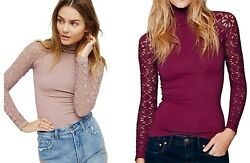NWT Womens Size XS S M L Free People Anthropologie Rib Lace Turtleneck Top $24.99