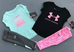GIRL#x27;S 3T UNDER ARMOUR SHIRT amp; LEGGINGS quot;IT#x27;S A GIRLS WORLDquot; OUTFITS LOT NWT $40.00