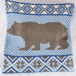 Eddie Bauer Pet Large Bear Knit Sweater Blue Gray Cabin Country $14.98