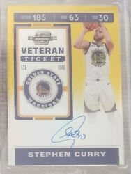 2019 20 Contenders Optic Gold 10 Stephen Curry On Card Auto Veteran Ticket $6500.00