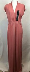 LUCKY BRAND Dress Maxi Large Rose Self Tie Short Sleeves Stretch Loose NEW 1123 $21.00