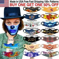 Face Masks Reusable Washable Cloth Colorful Patterns Halloween Stylish Funny $7.99