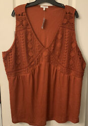 Cute For Summer Fall Women's Maurices Plus Size Tank 3 3X Burnt Orange $20.00