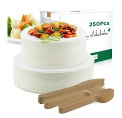 Compostable Plates and Cutlery Eco Friendly 250 pieces Biodegradable Heavy Duty $4.99