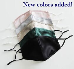 Nose Wire Mulberry Silk Face Mask 100% with Adjustable Straps and Chin Support $14.99