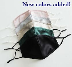 Nose Wire Mulberry Silk Face Mask 100% with Adjustable Straps and Chin Support $10.99