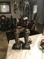 Tuscan Table Lamp Set of 2 Rustic Antique Bronze Decor Lights 26#x27;#x27; Accent Decor $99.00