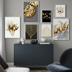 Wall Canvas Abstract Golden Leaves Flower Poster Art Painting Nordic Home Decors $10.00