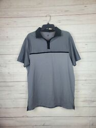 C9 Champion LARGE Color Block Duo Dry Polo Black Grey $11.99
