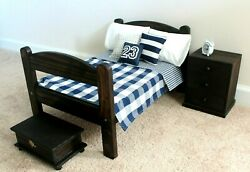 18quot; Boy Logan Doll Bed Chest Nightstand Furniture Bedding Clock American Girl $109.99