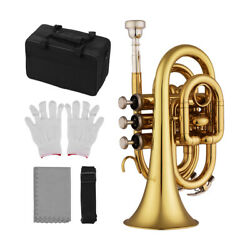 Mini Pocket Trumpet Bb Flat Brass Wind Instrument w Mouthpiece Gloves Case B2G9 $69.99