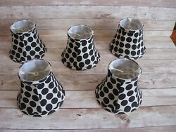 5 Black amp; White Polka Dot Cloth Chandelier Candle Lamp Shades $20.00