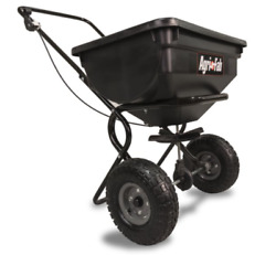 Fertilizer Spreader Broadcast Seed Lawn Pneumatic Tires 85 lb. Push Hopper $75.01