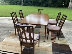 Broyhill Brasilia Mid Century Dining Table W Six Chairs MCM $1600.00
