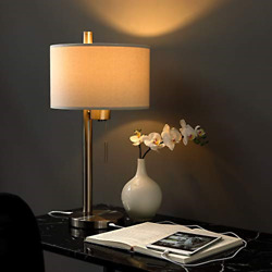 Modern Table Lamp with USB Port for Bedroom Living Room Study Desk 23quot;H Steel $94.41