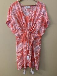 Cleobella Coral amp; White Swimsuit beach Cover Up One Size $30.00
