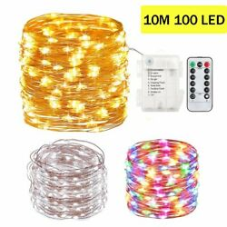 10M 100 LED Battery Operated Fairy String Lights Copper Wire Outdoor with Remote $8.39