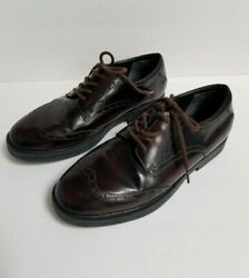 Kenneth Cole Reaction Boys Dress Shoes Youth Size 4 Brown Black Oxford Wingtips $7.00