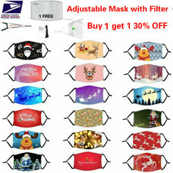 3D Christmas Adjustable Cotton Face Mask Cover Washable Reusable with Filter $4.99