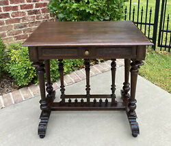Antique French Table Side Table Hall Entry End Table Nightstand w Drawer Oak $825.00