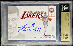 Lonzo Ball 2017 18 Panini Encased RED RC Rookie On Card AUTO 12 25 BGS 9.5 POP 6