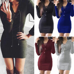 Women Sexy V Neck Knitted Jumper Mini Dress Bodycon Winter Party Slim Dresses $15.67