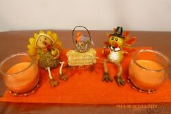 MR amp; MRS TURKEY Autumn THANKSGIVING Decoration Scented CANDLES Fall CENTERPIECE $27.77