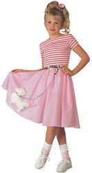Girls Poodle Skirt Costume 50s Fancy Dress Pink Halloween Purim Child Kids NEW $25.64