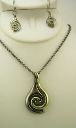 Chico#x27;s Geometric Pendant Necklace and Earring Set H $9.99