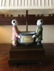 Frederick Cooper Table Lamp Asian Chinese Figural Man amp; Woman 19quot; tall No shade $115.00