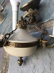 Rare Vintage Chandelier Ornate 3 Lights Brass $89.79