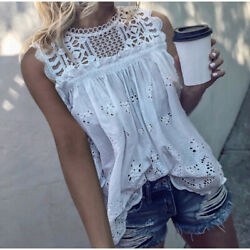 M New Boho White Crochet Lace Boho Blouse Top Tank Vtg 70s Ins Womens MEDIUM NWT $44.50