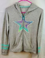 SO Girls Size 12 Hoodie Gray Star $11.99