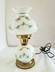 ⚡ Vintage GWTW Small Lamp Hand Painted Flowers Hurricane w Night Light $30.99