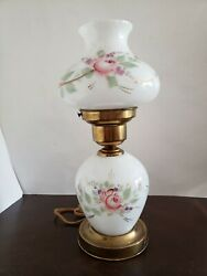 💥Vintage GWTW Small Lamp Hand Painted Rose Flower Hurricane w Night Light WORKS $34.99