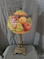 Vintage Table Lamp Reverse Painted Pairpoint Type Glass Fruit Design Lamp Shade $99.99