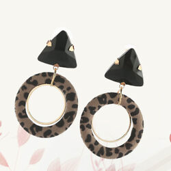 2 Pairs Retro Leopard Round Earrings Exaggerated Stylish Ear Drop Personalized $9.20