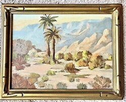 Antique Oil Painting Early California Plein Air Desert Landscape Signed SH Wood $150.00