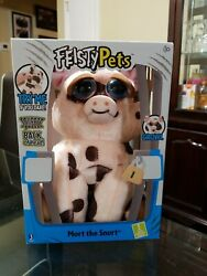 Feisty Pets Mort The Snort Spotted Pig Plush Animal Shows Teeth When Squeezed $14.00