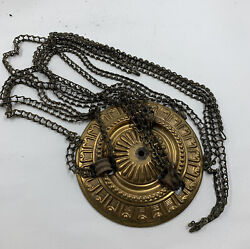 ANTIQUE HANGING PARLOR LIBRARY OIL LAMP LADDER CHAIN PARTS w MEDALLION $29.95