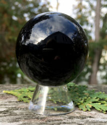 146.3g POWERFUL NATURAL GLOSSY BLACK OBSIDIAN Crystal Sphere w Stand ITALY Reiki $20.70