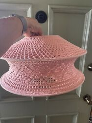 """Pink Crochet Cotton Lampshade Ceiling Floor Table Lamp Shade White 16"""" Dia $25.00"""