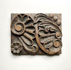 """Antique Spanish Colonial Baroque Carved Wood Panel Rustic Primitive Decor 12"""" $120.00"""