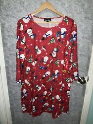 DRESS WORKS Womens Red Snowman Themed Christmas Dress Size Large NWT $14.99