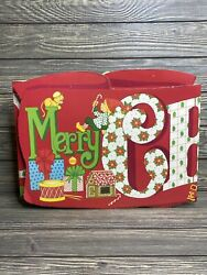 Vintage Merry Christmas Cardboard Wall Banner With Pop Out 3D Tissue Paper Tree $25.89
