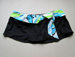 Macy#x27;s 2 Bamboo Touch Skirted Womens Swim Bottoms Black Sz Small NWT $14.40