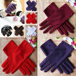 Short Satin Gloves for Women Opera Gloves Tea Party Dancing Gloves Wrist Length $7.69