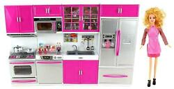 My Modern Kitchen Full Deluxe Kit Battery Operated Kitchen Playset w Toy Doll $61.98